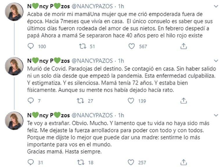 Nancy Pasos, mensajes por muerte de su madre, Twitter