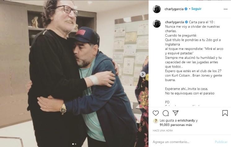 El sentido posteo de Charly García a Diego Maradona
