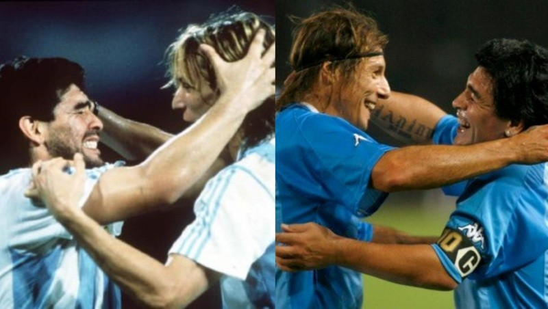 Los abrazos interminables entre Caniggia y Maradona
