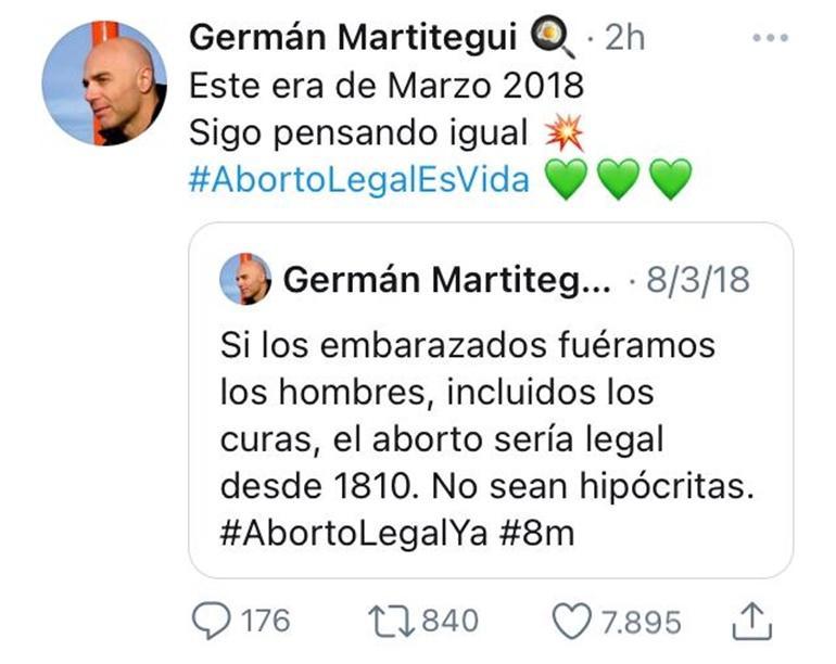 Germán Martitegui se pronunció a favor del aborto