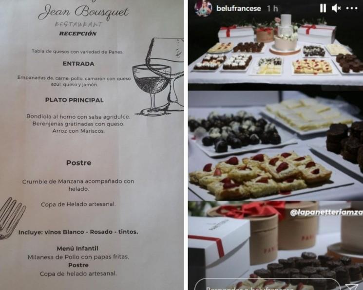 El catering y menú del casamiento de Belén Francese