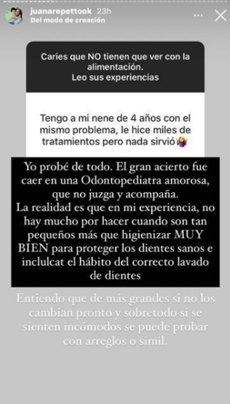 El mensaje de Juana Repetto.